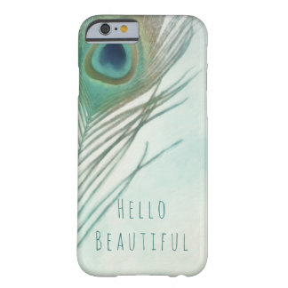 Peacock Feather Boho Chic Watercolor Custom Barely There iPhone 6 Case