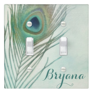 Peacock Feather Boho Chic Watercolor Custom Light Switch Cover