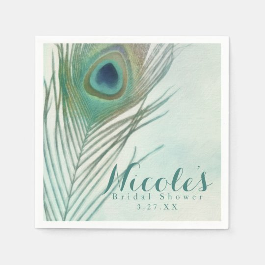 Peacock Feather Boho Chic Watercolor Custom Party Paper Napkins