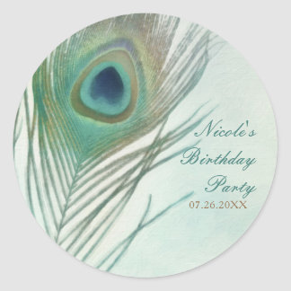 Peacock Feather Boho Chic Watercolor Party Favor Classic Round Sticker