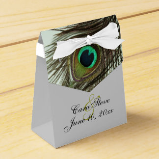 Peacock Feather Bride and Groom Favor Box
