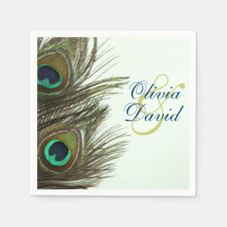 Peacock Feather Bride and Groom Wedding Napkins Paper Napkins