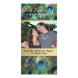 Peacock Feather Christmas Love Peace Joy Holiday Photo Card