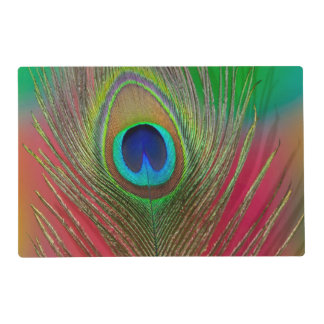 Peacock feather close-up laminated place mat