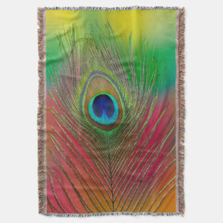 Peacock feather close-up throw blanket