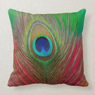 Peacock feather close-up throw pillow