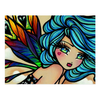 Peacock Feather Cloud Fairy Fantasy Postcard