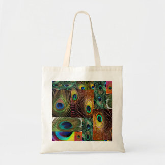 peacock feather collage tote bag