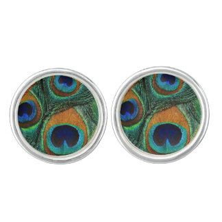 Peacock Feather Cuff Links - Green Teal Aqua Brown
