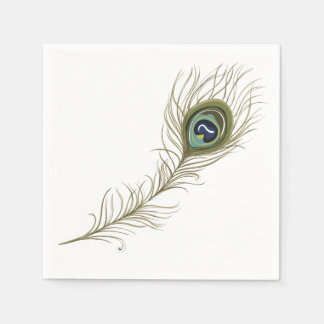 Peacock Feather Disposable Napkin