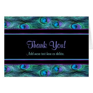 Peacock Feather Drama - Thank You Card