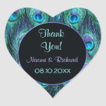Peacock Feather Drama -Thank You Seal - Customize Heart Stickers