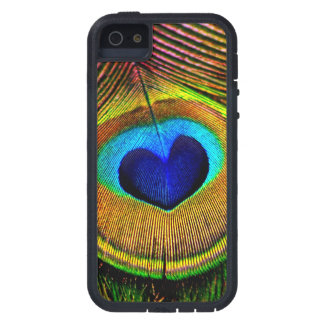 Peacock Feather Elegant Bird Blue and Gold Heart iPhone 5 Case
