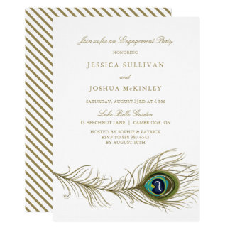 Peacock Feather Engagement Party Invitation
