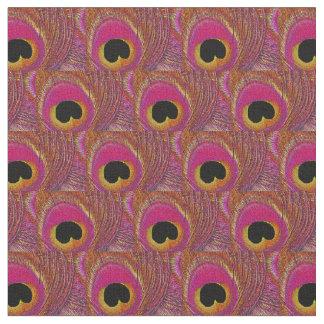 Peacock Feather Fabric - Pink Yellow Orange Black