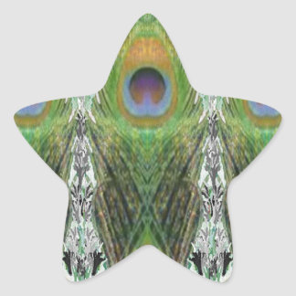 Peacock Feather - Fish Shaped Digitally Star Sticker
