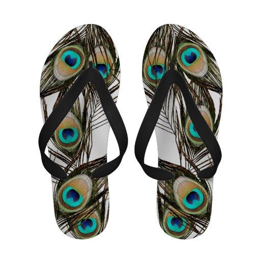 Peacock Feather Flip Flops