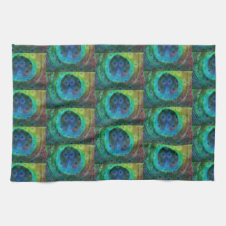 Peacock feather geometric print kitchen towel