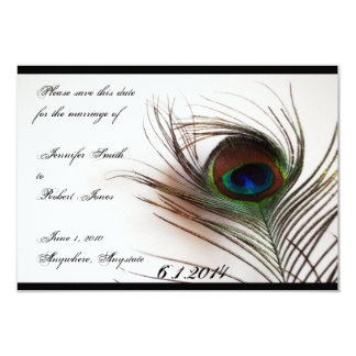 Peacock Feather Glamor Save the Date Card