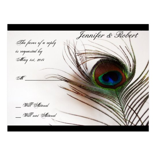 Peacock Feather Glamour RSVP Postcard