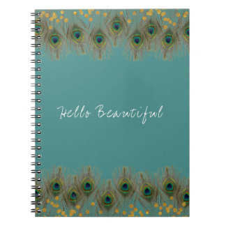 Peacock Feather & Gold Dots ANY COLOR Boho Chic Notebook