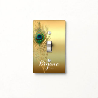 Peacock Feather Gold Exotic Boho Chic Elegant Glam Light Switch Cover