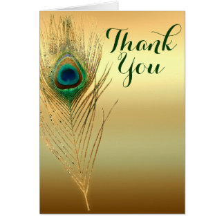 Peacock Feather Gold Exotic Boho Chic Thank You Card