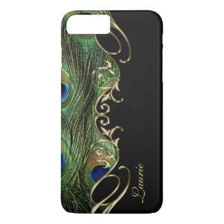 Peacock Feather Gold iPhone 7 Plus Monogram Case