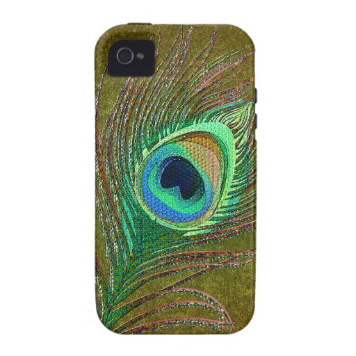 Peacock feather green iPhone 4 cases