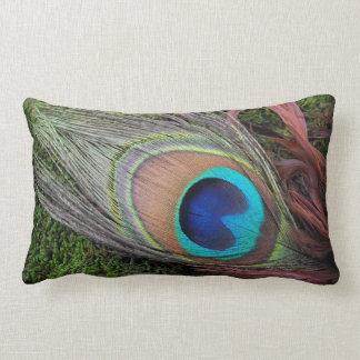 Peacock Feather/Green Moss Decor Lumbar Pillow
