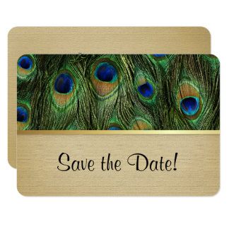 Peacock Feather Green - Save The Date Card