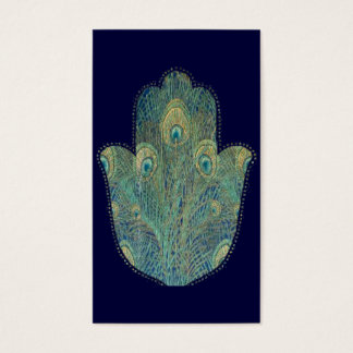 Peacock Feather Hamsa Business Card