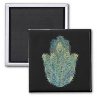 Peacock Feather Hamsa Magnet