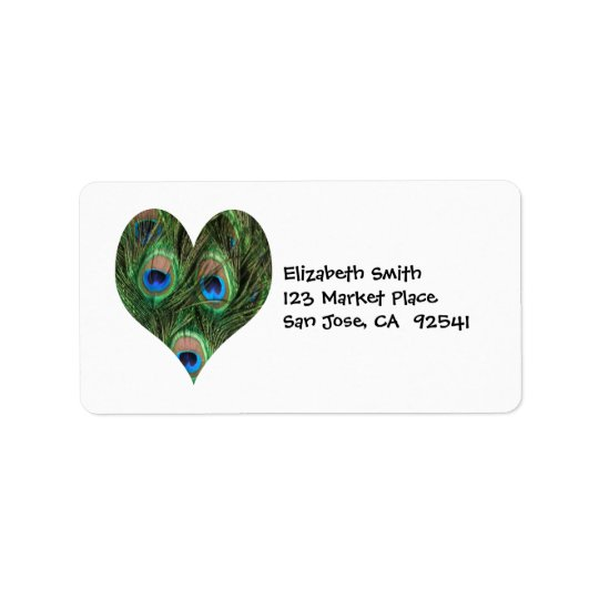 Peacock Feather Heart Address Label