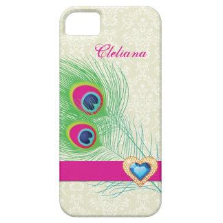 Peacock feather jewel heart custom iPhone 5 covers