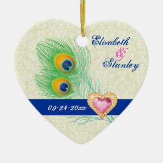 Peacock feather jewel heart wedding Save the Date Ceramic Heart Ornament