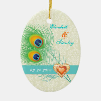 Peacock feather jewel heart wedding Save the Date Ceramic Oval Ornament