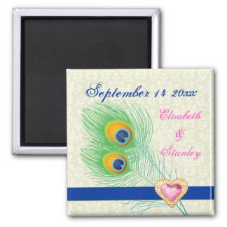Peacock feather jewel heart wedding Save the Date Fridge Magnets