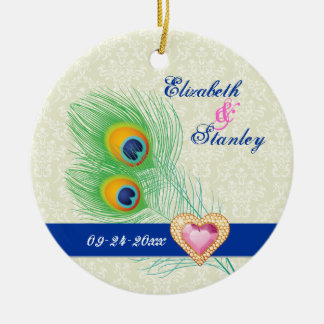 Peacock feather jewel heart wedding Save the Date Round Ceramic Ornament