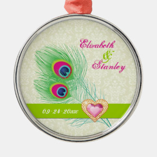 Peacock feather jewel heart wedding Save the Date Silver-Colored Round Ornament