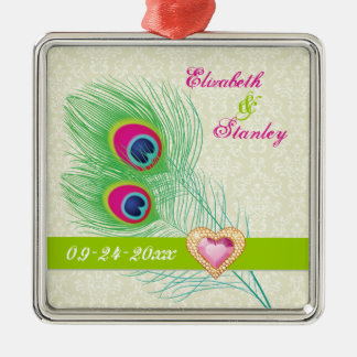 Peacock feather jewel heart wedding Save the Date Silver-Colored Square Ornament