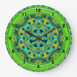 PEACOCK FEATHER KALEIDOSCOPE Clock