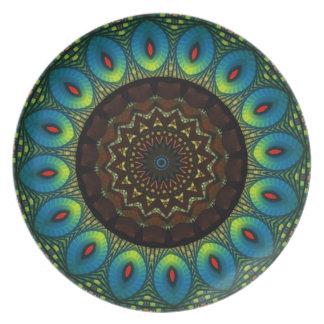 Peacock Feather Kaleidoscope Decorative Plate
