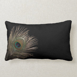 Peacock feather lumbar pillow