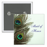 Peacock Feather Maid of Honour Pin