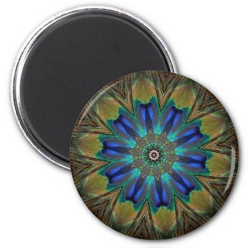 Peacock Feather Mandala Kaleidoscope Refrigerator Magnets
