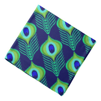 Peacock feather moroccan ikat design bandana
