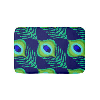 Peacock feather moroccan ikat design bath mat