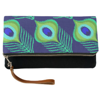 Peacock feather moroccan ikat design clutch