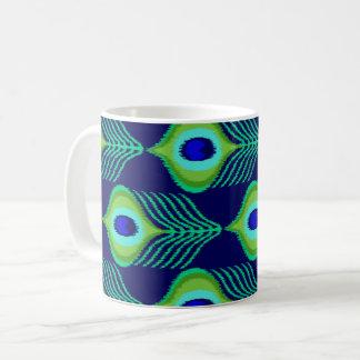 Peacock feather moroccan ikat design coffee mug